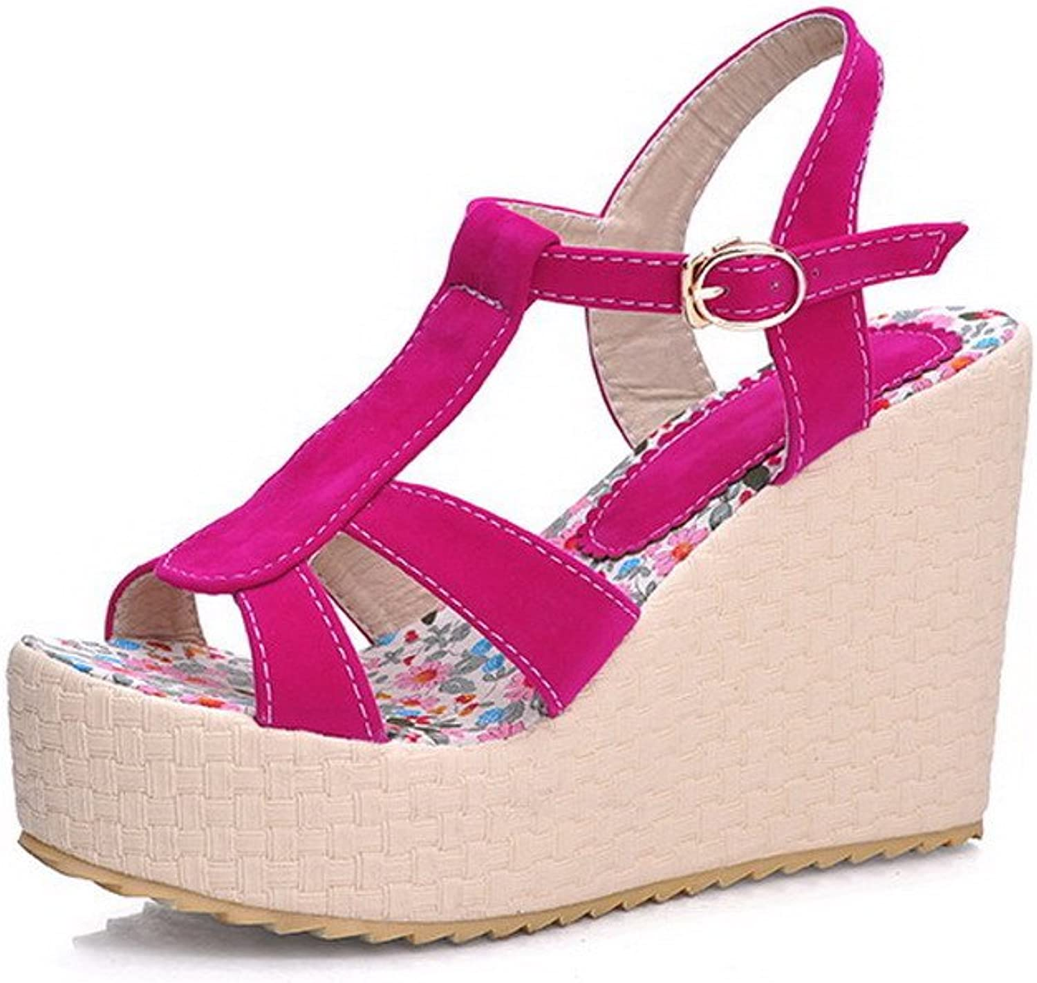 WeenFashion Women's Frosted High Heels Open Toe Solid Buckle Platforms & Wedges