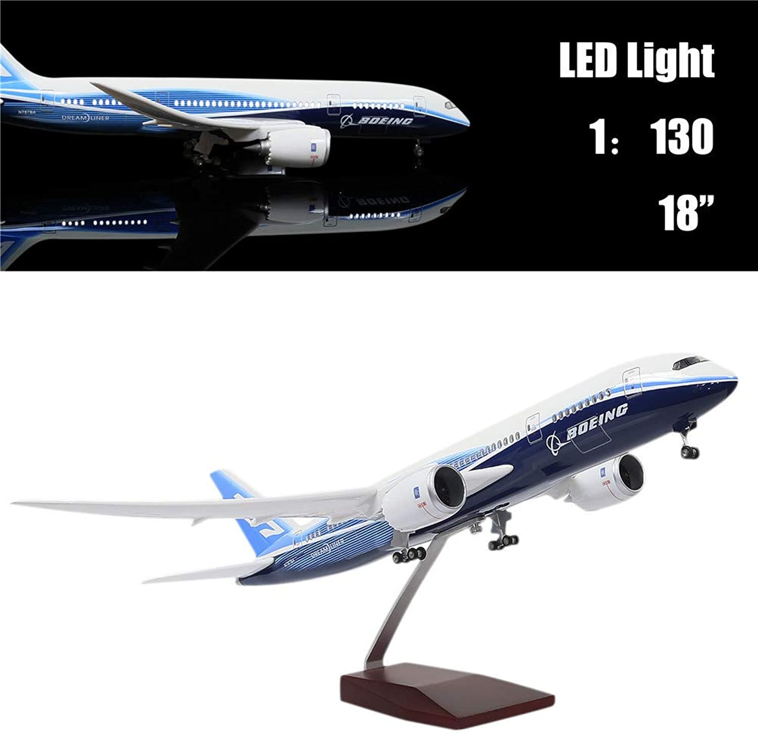 "24-Hours 18"" 1 130 Scale Model Jet Boeing 787 Aircraft Model Kits Display Diecast Airplane for Adults with LED Light(Touch or Sound Control)"
