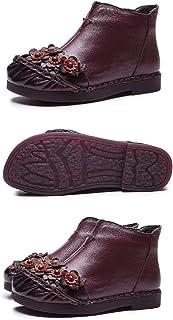 LingGT Handmade Flower Women Boots Leather Flat Ankle Shoes (Color : Purple, Size : AU 6.5)