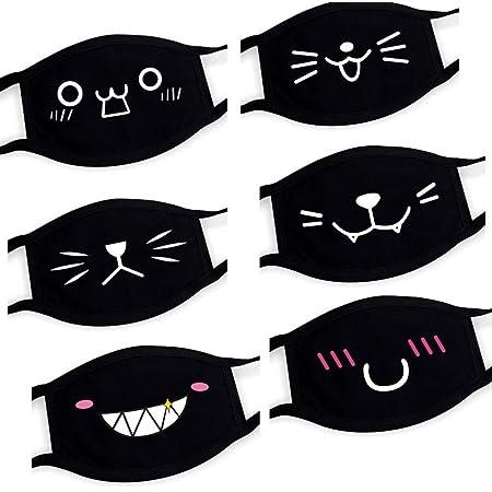 Ussuma 6PC Cartoon Print Cotton Face Bandanas Reusable Washable Mouth C-Over Face M/àsc