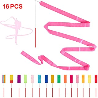 ChangSheng 16 Pcs Colors Rhythmic Gymnastics Ribbon, Silk Ribbon For Children's Toys And Wedding Steamers, Party Steamers