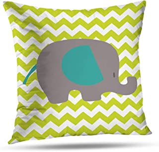 Pakaku Throw Pillows Covers for Couch Indoor Bed 20 x 20 Inch,Navy Lime Green Elephant Nursery Home Sofa Cushion Cover Pillowcase Gift Decorative Hidden Zipper Design Cotton and Polyester