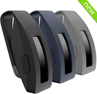 HSWAI [Updated Version] Clip Replacement for Fitbit Inspire & Fitbit Inspire HR, Made of Soft Comfortable Silicone, 360°Protection [No More Lost Trackers](Clip-Black&Navy&Gray)