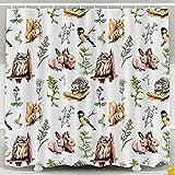 PPPPPRussell Shower Curtain Duschvorhang, Tiere Vögel Kaninchen Eichhörnchen Eule Igel In Wiese Gras Zoo Aquarell Skizze Stil Wasserdicht Dekor Badezimmer Set Haken, 183X183Cm