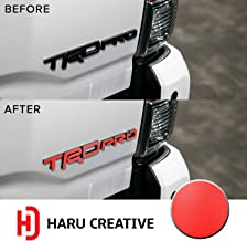 Haru Creative - Rear Tailgate Trunk Emblem Logo Overlay Vinyl Decal Sticker Compatible with and Fits Toyota Tacoma TRD Pro 2015 2016 2017 2018 2019 - Matte Red