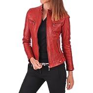 Sara Leather Women's New... Sara Leather Women's New Lambskin Leather Bomber Motorcycle Jacket Large Red