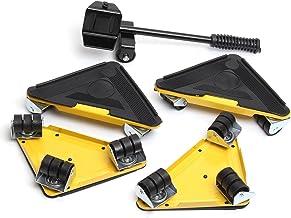 Meubellifter 5 Stks Triple 4 Mover Roller + 1 Wiel Bar Transport Set Meubels Mover Sliders Heavy Hand Tool Set Geel