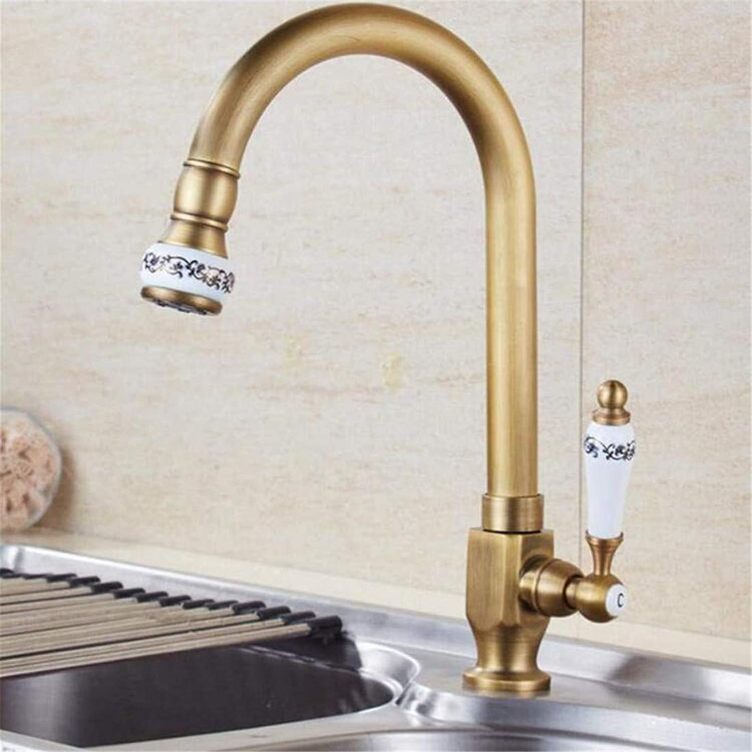 Faucet Retro Kitchen Bathroom Faucet Faucet Washbasin Brass Ceramic Kitchen Faucet Single Cold Water Faucet Deck Mounted Swivel Sink Tap