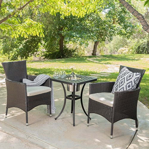 Christopher Knight Home Ariel | 3 Piece Wicker Outdoor Bistro Set with Cushions | with Ice Bucket | Perfect for Patio | in Multibrown/Shiny Copper