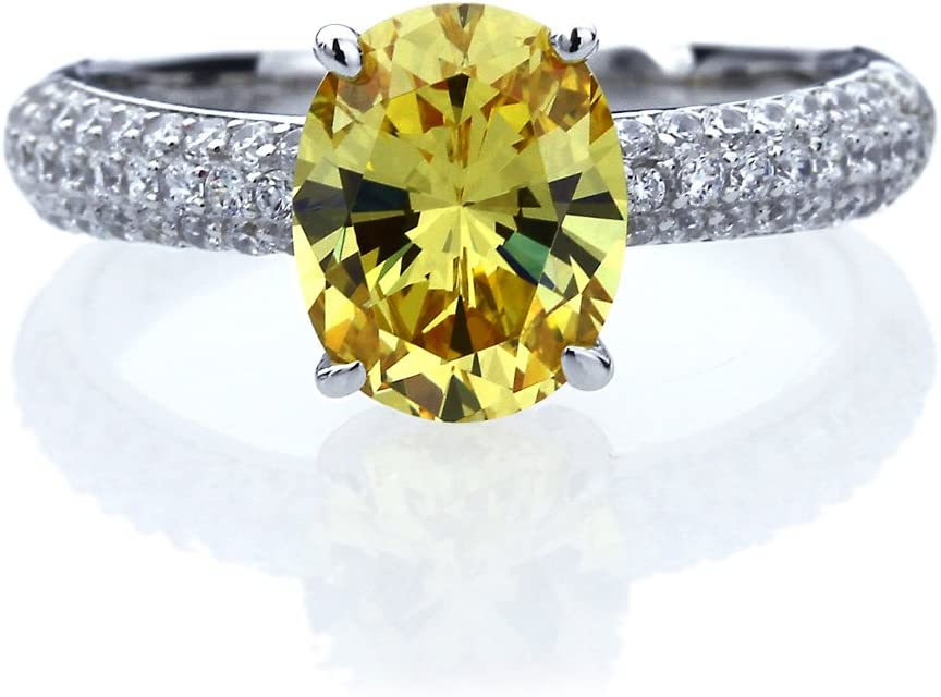 Double Accent Platinum Plated Sterling Silver 2.5ct Oval Canary Yellow CZ Ladies Cocktail Ring (Size 5 to 9)