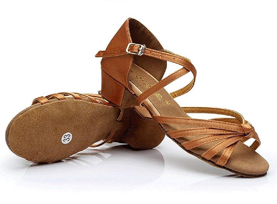 矢防止学士[Dianyejiancai] 最新の女性ダンスシューズ 女の子ラテンダンスシューズ、子供用ダンスシューズローヒール耐摩耗性サンダル (Color : B, サイズ : Foot length=20.3CM(8Inch))