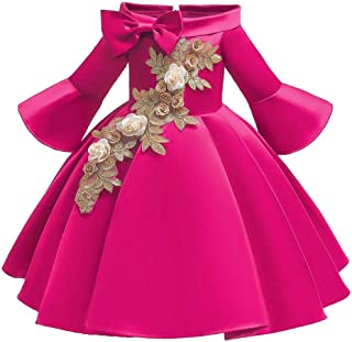 BestGift Girls Shoulderless Half Sleeve Gown Satin Elegent Lace Flower Girls Princess Formal Wedding Pageant Dresses