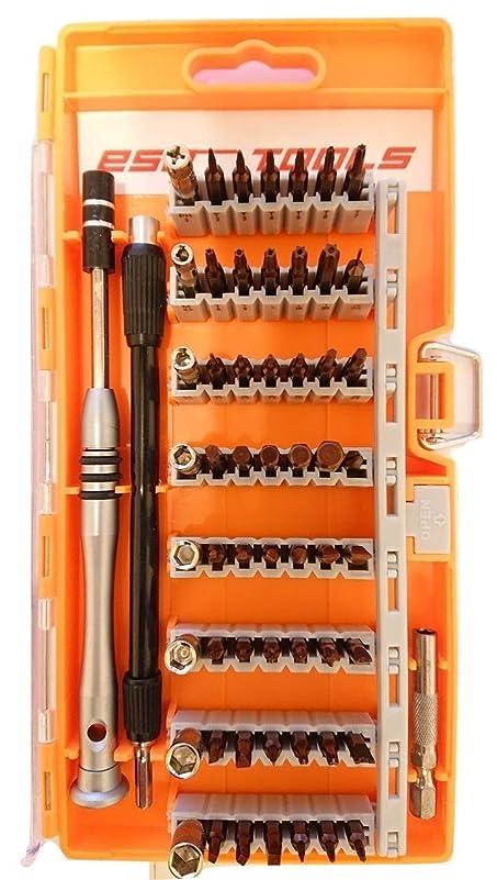電化するキウイコンチネンタルeso-TOOLS S60合金 耐摩耗 精密 特殊ドライバーセット オレンジ 60in1 56種ビット/磁石付き/耐摩耗性/トルクス/U型/六角棒/Y型/三角/プラス/マイナス/ネジ/多機能ツール/時計/スマホ/パソコン/メガネ/分解/改造/修理/メンテナンス/DIY/作業/工具