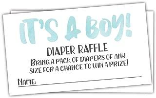 50 Blue Watercolor It's A Boy Diaper Raffle Tickets - Boy Baby Shower Game