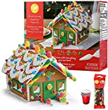Gingerbread House Kit; Build & Decorate It Yourself, Holiday Fun Activity - Includes House Panels, 4...