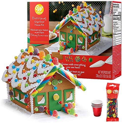 Gingerbread House Kit; Build & Decorate It Yourself, Holiday Fun Activity - Includes House Panels, 4 Types of Candies, Icing, Decorating Bag & Tip, Fondant, Bundled With(4) SEWANTA Candy Cup Holders