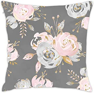 Hwensona Golden Blush Roses Floral On Gray Summer Watercolor Glitter Flowers Throw Pillow Covers and Cases Modern, Decorative Cover Sets for Pillows - Couch, Bed, Home Decor (18