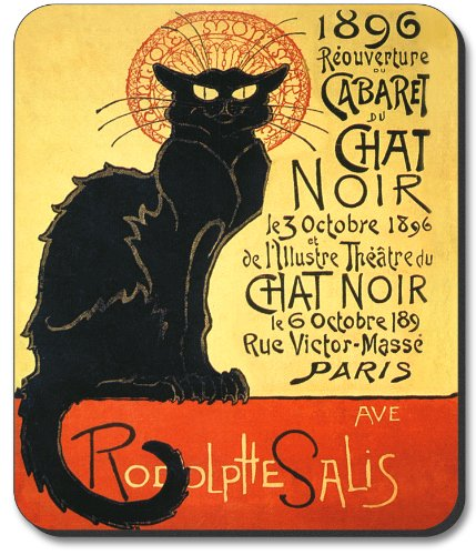 Art Plates Brand Mouse Pad with Chat Noir Design
