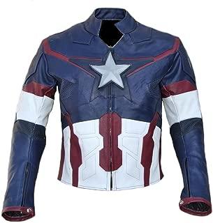 Classyak Men Captain Ultron Real Leather Jacket, Xs-5xl