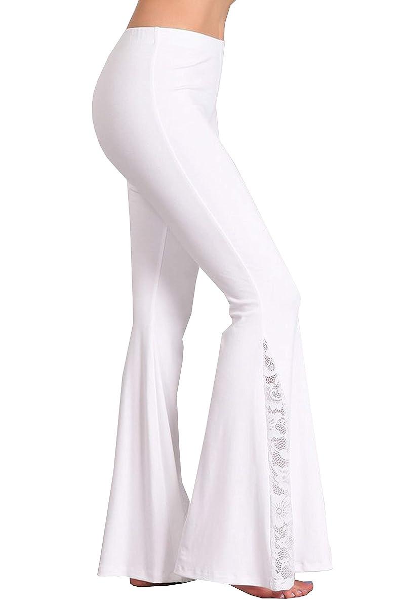 Zoozie LA Women's Bell Bottoms Flared Yoga Stretch Pants Tie Dye High Waist