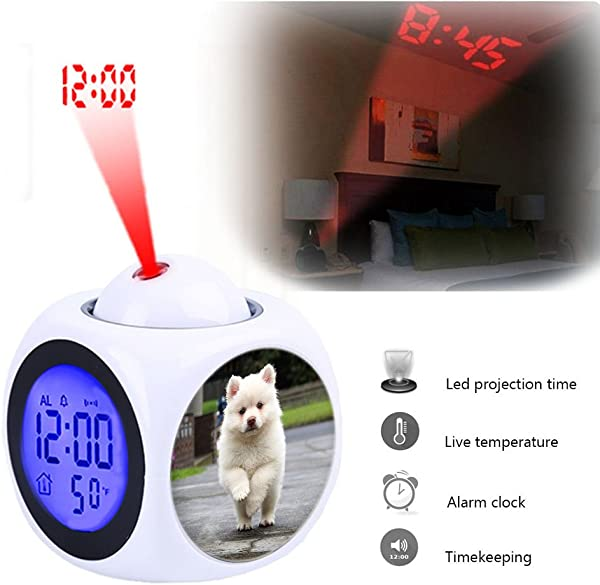 Projection Alarm Clock Wake Up Bedroom With Data And Temperature Display Talking Function LED Wall Ceiling Projection Customize The Pattern 321 Puppy Running Dog Animal Pet Cute Young Nature