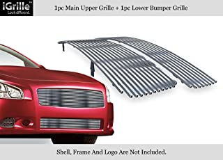 APS Stainless Steel Billet Grille Combo Compatible with 2009-2014 Nissan Maxima Chrome Polished N19-S47778N