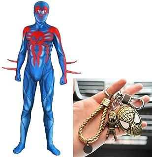 New Era Spider Man Jumpsuit 3D Print Tights Cosplay Party Set High Stretch Mannequins + Spiderman Keychain Set,Blue-XXXL