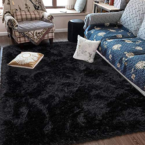 Fluffy Soft Kids Room Rug Baby Nursery Decor, Anti-Skid Large Fuzzy Shag Fur Area Rugs, Modern Indoor Home Living Room Floor Carpet for Children Boys Girls Bedroom Rugs, Black 4 x 5.9 Feet