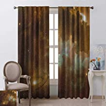 Constellation Blackout Curtain Dusty Nebula Spiral Galaxy in Billions of Stars Infinity 2 Panel Sets W52 x L84 Inch Pale Coffee Mint Green White