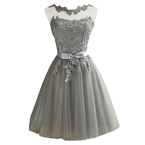 iShine Vestido Corto Verano para Mujer de Fiesta Floral con Arco Cintura de Novia Coctel Vestido