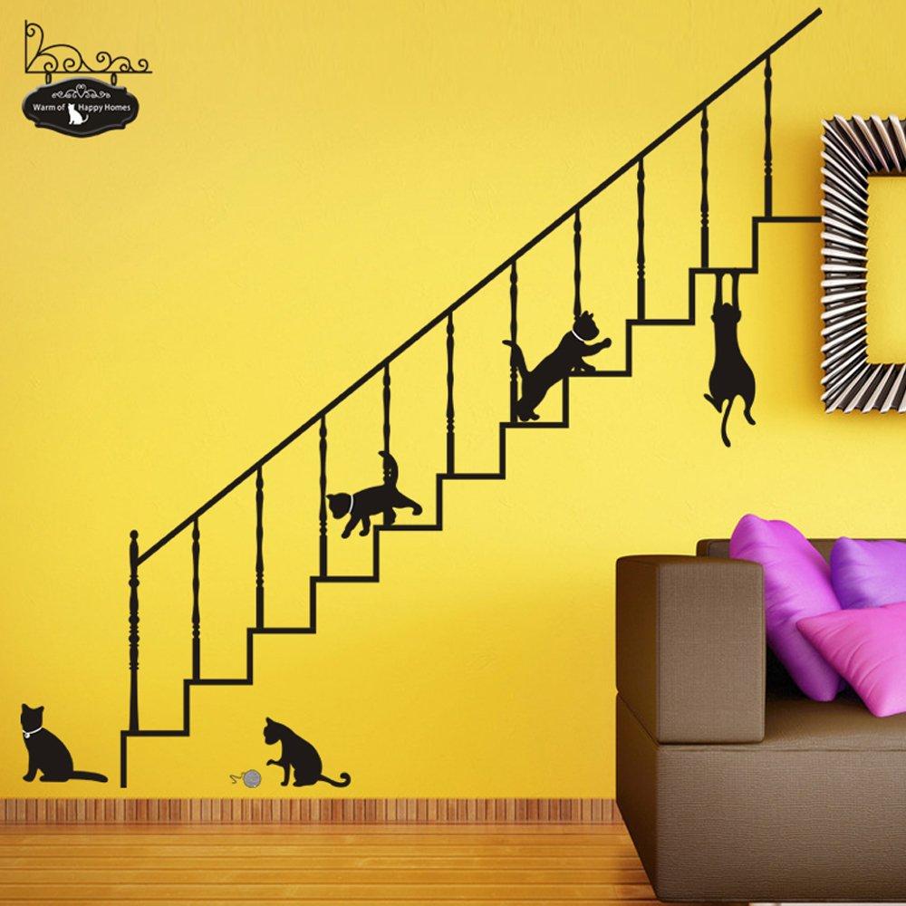 Gran tamaño dibujos animados gatos escaleras pared pegatinas Kid s habitación Guardería Escuela extraíble hogar adhesivos