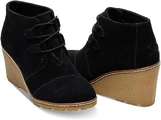 Women's Desert Wedge Crepe Black Suede Shoes 9