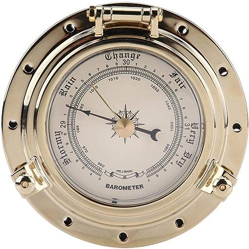 Baromètre, compteur d'humidité de la température d'horloge de baromètre rétro de Rome pour le bateau SUV de bateau de plaisance de RV marin(Barometer-Or)