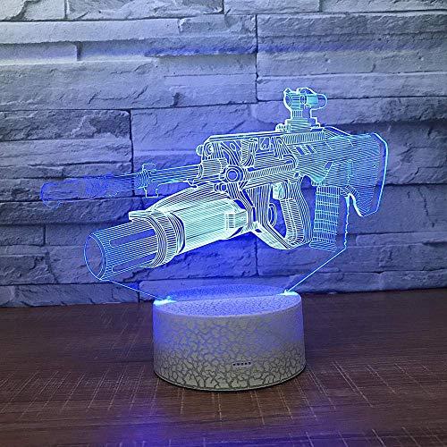 Luz de noche Luz de rifle 3D 7 variaciones de color Mesa de mesa LED Luz de noche con ilusión de control remoto Niños niña niño Decoración del hogar Fiesta