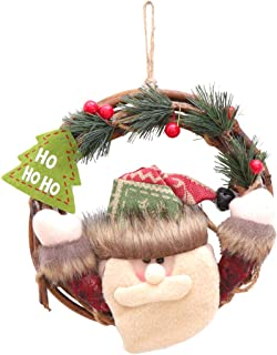 STOBOK Corona de Navidad con muñeco de Santa Claus Decoraciones de Puerta de Navidad 22cm