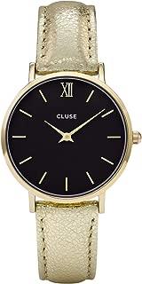 Minuit Gold Black Gold Metallic CL30037 Women's Watch 33mm Leather Strap Minimalistic Design Casual Dress Japanese Quartz Elegant Timepiece