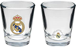 REAL MADRID FC 4 SETS OF 4 SHOT GLASSES - TOTAL OF 16 SHOT GLASSES - OFFICIAL REAL MADRID SOCCER PRODUCT - PERFECT FOR HOLIDAY GIFT GIVING OR YOUR NEXT REAL MADRID PARTY GREAT FOR ANY REAL MADRID FAN
