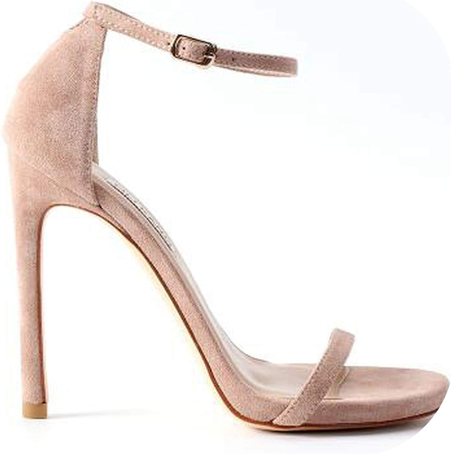 Genuine Leather Ankle Strap Heels Women Sandals Summer shoes Open Toe Chunky High Heels Ladies Sandals