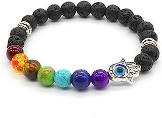 7 Gemstone Chakra Lava Rock Stone Spacer Healing Bead Bangle Bracelet Gift with Hamsa hand
