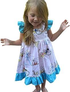 DressLksnf Vestido Elegante Moda de Mujer Falda Estampado de Flor Hermosa Redondo con Arn/és Estilo de Vacaci/ón Vestido de Secci/ón Larga Casual Abierta Pierna