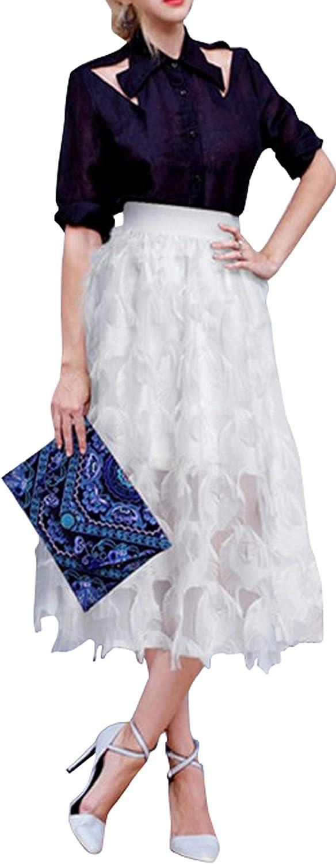 CHARTOU Women's Fairy Feather Tassel Patchwork Pleated A-Line Big Hem Long Skirt