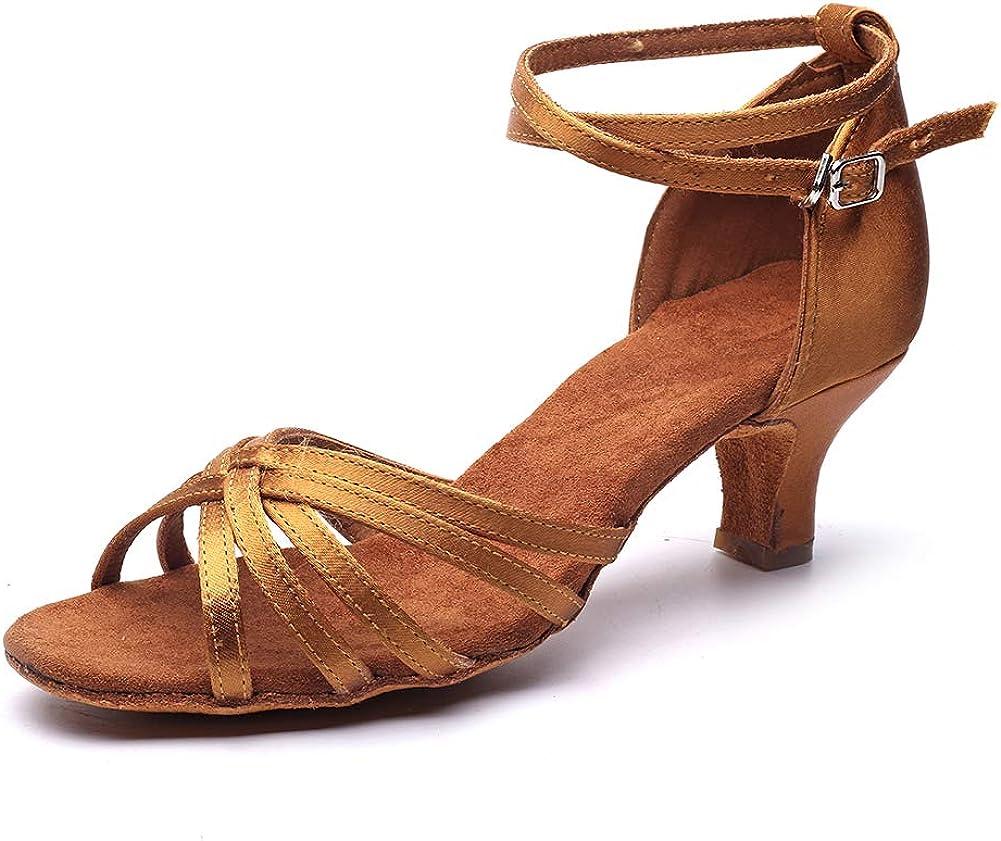 MSMAX Jazz Dancing Shoes Women's Mid Heel Latin Teaching Shoe