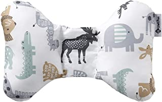 W WelLifes Head & Neck Support Baby Pillow for Newborn Breathable 3D Air Mesh Organic Cotton, Best Headrest for Strollers for Infants & Toddlers Animal World