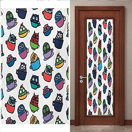 YANGCH Pegatinas Puertas Cristal 215 X 95 Cm Color Moda Lindo Mascota Pegatina De Puerta Para Chicas Adolescentes En El Dormitoriosobre Fondo Vinilo Puerta Calcomanías Papel Tapiz Murales De Pared Peg