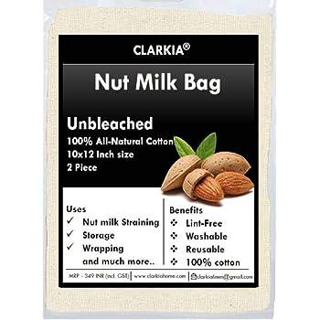 Clarkia Cotton Drawstring Nut Milk Bag Unbleached (10x12 inch) - 2 Piece