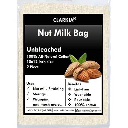 Clarkia Cotton Drawstring Nut Milk Bag Unbleached (10x12 inch, White) - 2 Piece