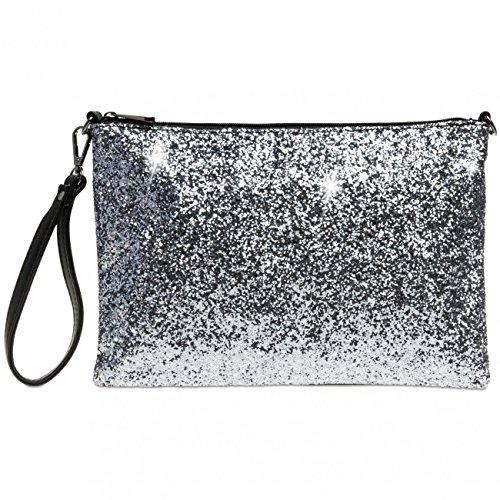 Caspar TA341 große Damen XL Glitzer Pailletten Clutch Tasche Abendtasche mit Handschlaufe, Farbe:silber, Größe:One Size