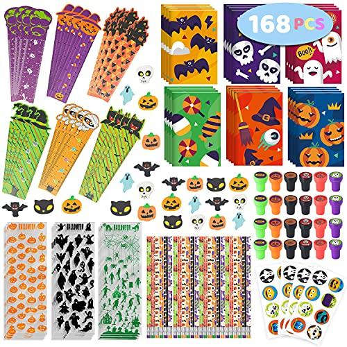 Springflower 168pcs Halloween Stationery Set for kids, Halloween Party Favors set, Halloween Stationery gift kit, Halloween Goody Bag Fillers including Pencil, Eraser, Ruler, Notepad, Stamper, Sticker