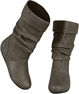 cea91b8924 Syktkmx Womens Slouchy Under Knee Boots Winter Flat Low.