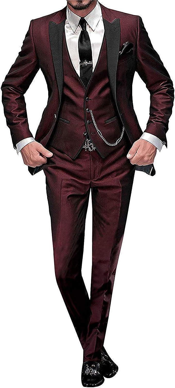 Mens Suits Slim Stylish 3 Piece Linen Suit Wedding Prom Blazer Jacket Vest Trousers